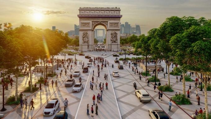 Hiện tại, đại lộ có 8 làn xe lưu thông nối Khải Hoàn Môn và quảng trường Concorde. Ảnh: CNN