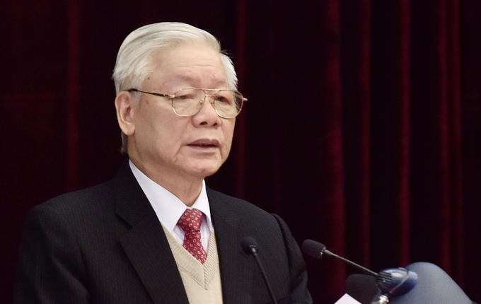 Tổng bí thư, Chủ tịch nước Nguyễn Phú Trọng phát biểu khai mạc Hội nghị Trung ương 15 (khóa XII). Ảnh: Nhật Bắc