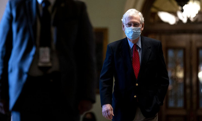 Mitch McConnell tại Đồi Capitol ở thủ đô Washington hôm 22/1. Ảnh: Bloomberg.