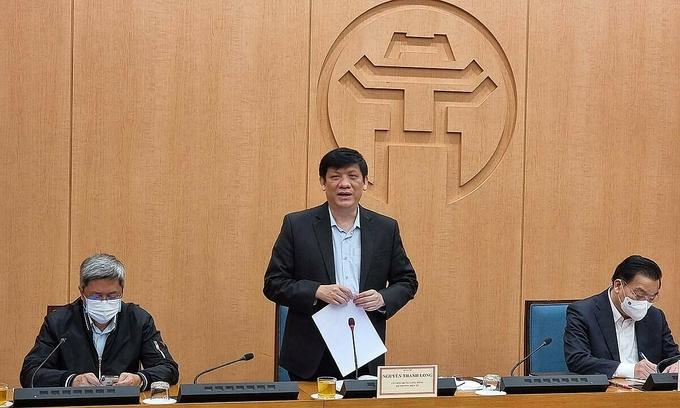 Bộ trưởng y tế Nguyễn Thanh Long làm việc với UBND TP Hà Nội, chiều 1/2. Ảnh: Tuấn Dũng.