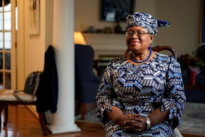 Bà Ngozi Okonjo-Iweala trong cuộc phỏng vấn hôm 15/2. Ảnh: Reuters