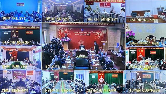 Hội nghị giao ban trực tuyến với về công tác phòng, chống dịch Covid-19 với các tỉnh, thành phố trực thuộc Trung ương tại 63 điểm cầu, sáng 19/2. Ảnh: Thùy An